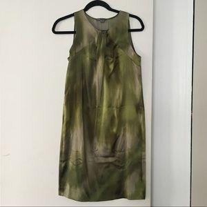 Vince Green Watercolor Silk Shift Dress